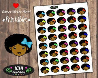 Cute Afro Girl With Bow Printable Stickers, Planner Stickers, Black Girl Stickers, Erin Condren, functional, Black Girl Magic, Reminder
