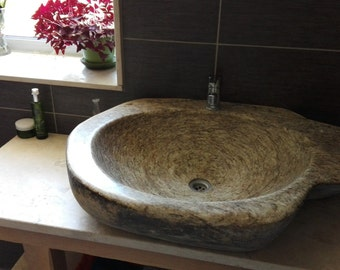 ORIGINAL Solid River Stone Sink // Large Handmade Gneiss Vessel Sink,  Natural River Stone