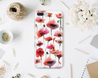 Poppy Flowers Phone Case iPhone 7 Phone Case iPhone 7 Plus Personalized Phone Case iPhone 6s Case Floral iPhone 6 Plus Case 6s Plus MN162