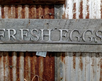 Fresh Eggs Sign on Barnwood Farmhouse Decor