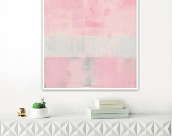 Pale Pink Abstract Art, Large Pink Painting, Printable Minimal Art, Modern Abstract Print, Original Wall Art, Pink Wall Pictures