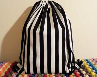 Black and White Stripes Drawstring Backpack