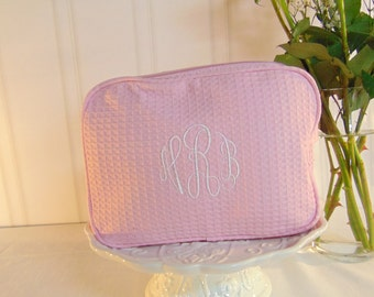 1-Bridesmaid Waffle Cosmetic Bag- Personalized Waffle Cosmetic Bag-Select from Multiple Colors