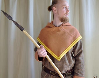 Viking Skjoldehamn hood in orange with handwoven band / Reenactment clothing / Viking clothes / Medieval garment for men and women