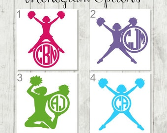 Cheerleader Monogram, Cheer Decal, Cheer Sticker, Cheerleader Gift, Cheer Mom Gift, Cheer Coach Decal, Cheer Competition, Cheer Camp Gifts