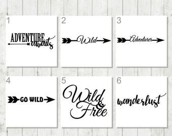 Wild and Free Decal, Camping Decal, Wanderlust Decal, Go Wild Decal, Adventure Decal, Boho Decal, Nature Lover Gift, Free Spirit, Traveler