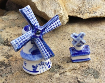Vintage Delft Blue Dutch Windmills - Miniature Porcelain Figurines - Holland Delftware