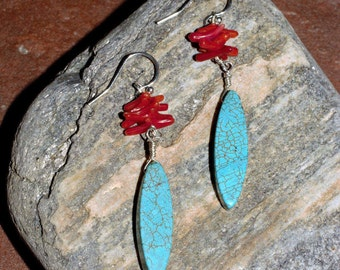 turquoise and coral chip earrings