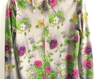 Vintage 70's polyester disco shirt
