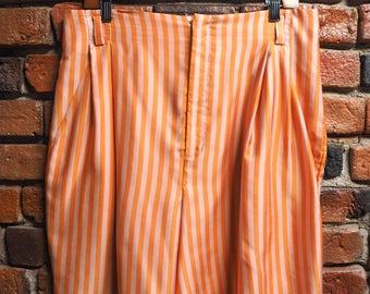 Women's 90s Orange And Pink Stripe 100% Silk Shorts Size 12