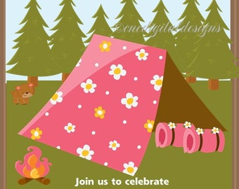 Camping Camp Out Girl Birthday Party Invitation Girls Sleep Over Digital You Print Yourself 5x7