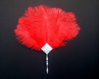 Renaissance Ostrich Feather Fan Cardinal Red Plumes with Silver Handle- Ready to Ship