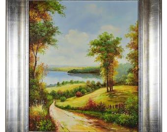"Impressionism, Large Original Hand Painted Landscape Art, ""Road To Lakeside"" 30 x 25"