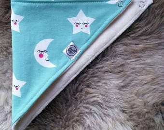 Baby dribble bib - MINT STARS & MOONS - Organic cotton jersey - Bamboo terry - adjustable - perfect for teething babies.