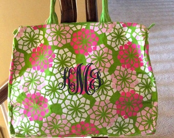 Fabulous Monogrammed Floral Beach Tote -- Perfect For The Beach, Pool, Or Around Town!