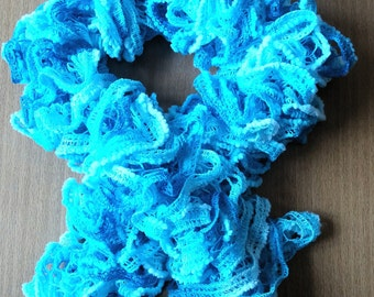 Blue ruffle scarf  Spring scarf  Woman,girls accessories  Handmade knitted scarf  Frilly scarf Woman,girls gift  Fashion scarf