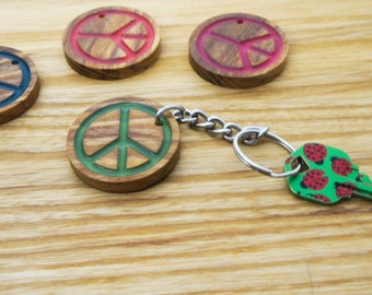 Peace Sign Key Chain, Glow in the Dark, Natural Wood,Cute, Stylish, Present for Him, Present for Her, Unique , Made in the USA