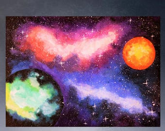 Space Watercolor painting Space art print Galaxy print Planet print Galaxy painting Nebula print Universe print Planet art Galaxy decor