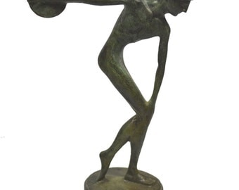 Discus thrower Discobolus statue ancient Greek bronze reproduction sculpture