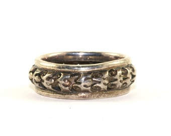 Vintage Scroll Design Cutout Band Ring 925 Sterling Silver RG 186