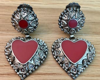 Vintage Native American Coral Red Silver Large Heart Dangles Earrings Clip-Ons Clip Ons Clip On Clip-On
