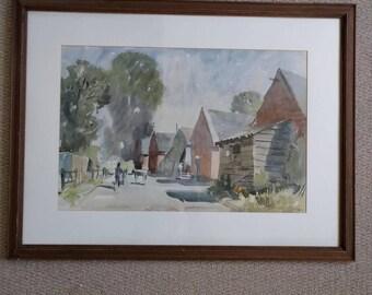 "Waterolour original ""Sykes"" painting of farmyard scene"