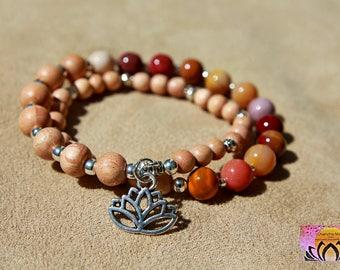 Mookaite and Rosewood Wrist Mala-Bracelet-Beaded Bracelet-Silver Lotus Flower Charm-Yoga Jewellery-Boho-Intention Bracelet-Gemstones
