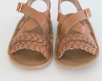 mimi sandal - tan (soft sole baby shoes)
