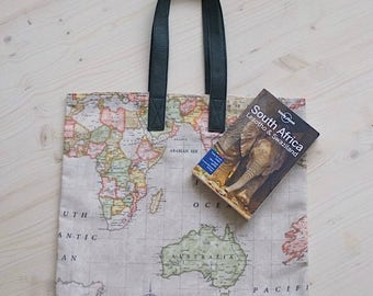 World Map Bag, Tote Bag, Canvas Tote Bag, Shopping Bag, Book Bag, Beach Bag, Cotton Tote Bag, Eco Bag, World Map Bag, Shoulder Tote Bag