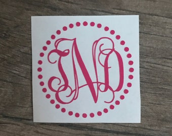 Dotted Frame Monogram, Dotted Monogram Decal, Decals, Monograms, Monograms for Yeti's, Monograms for Cups, Personalizing Sticker