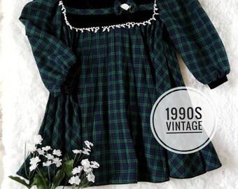 90s vintage 4T dress, toddler christmas dress, toddler vintage dress, vintage plaid dress, vintage girl dress, green and black vintage