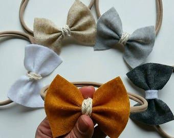 Neutral felt bows, set of felt bows, classic bows