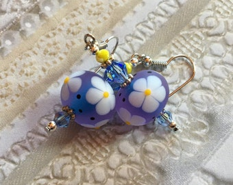 Periwinkle and White Floral SRA Lampwork Earrings, SRA Lampwork Jewelry, Mothers Day, Gift For Her, Floral Earrings, Flower Earrings