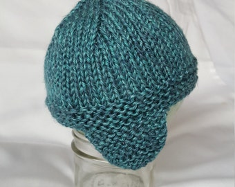 Handmade Knit Light Heather Blue Baby Hat with Earflaps/Knit Baby Beanie with Earflaps/Knit Baby Toque with Earflaps
