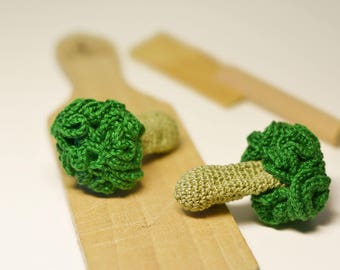 1 Pcs-Crocheted broccoli vegetables knitted smart toys montessori baby play food little cook kitchen decor tactile educational hostess gift