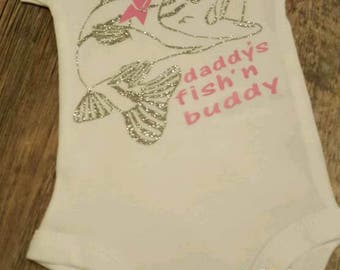 Preemie, Newborn, Baby Girl, Toddler, Daddys Fishing Buddy, T-Shirt, Bodysuit