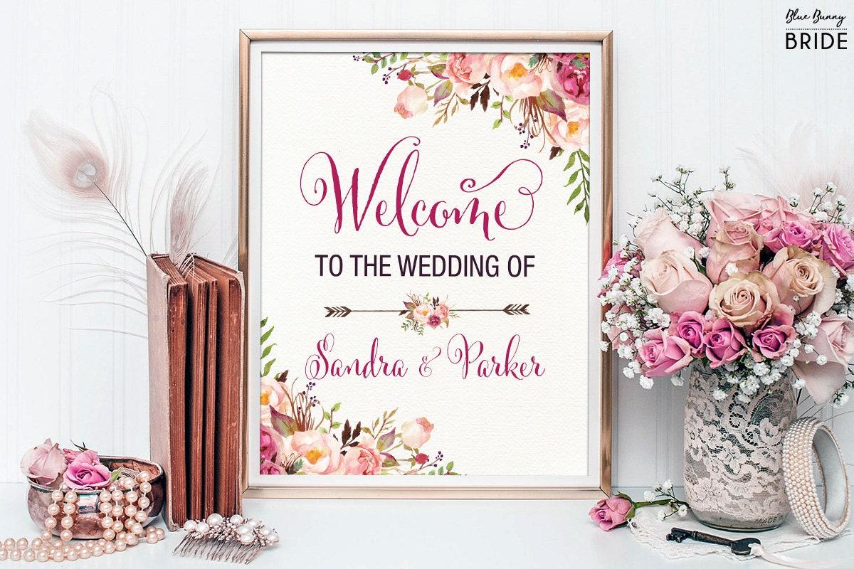Garden Floral Printable Wedding Sign. Bohemian Watercolor Flowers ...