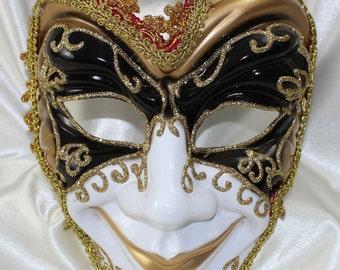 Mens Stunning Venetian Full Face Joker Jester Masquerade Mask- Quality Replica EM432