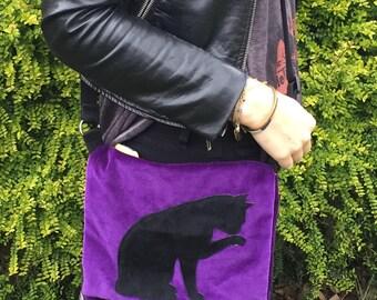 Black cat purple velvet cross body bag.