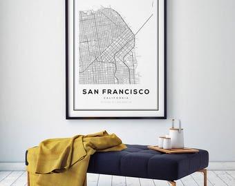San Francisco Map Print, California Map, San Francisco Map Poster, San Francisco, California, SF Map, City Map Print, Black and White Map