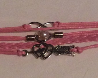 Infinity pink and silver bracelet heart charm Braid bangle bracelet multi-strands