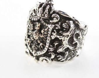 Lion & Eagle Coat of Arms Sterling Silver Ring