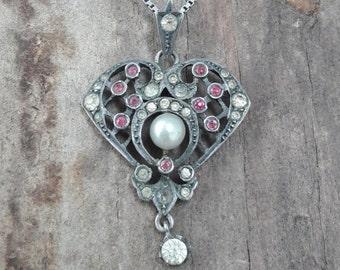 Antique art nouveau/victorian paste pendant in silver