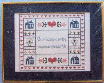 Our Home can be Heaven on Earth by Patricia Ann Designs Vintage 1989 Sampler Kit# cPSA Cross Stitch 11x14 Frame Amish Colonial DMC Pink Blue
