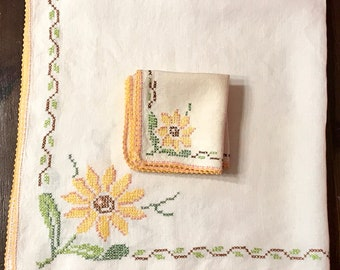 Vintage Tea Cloth and Napkin Set With Crochet Border - Luncheon Tablecloth - Cross-Stitch Embroidery - 1940's