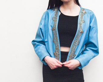 Blue Punk Leather Jacket - Handpicked Vintage