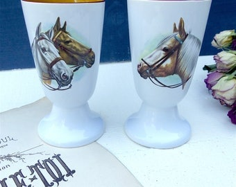 Set of 2 cups or former Mazagrans ceramic decoration horse riding stable harness horsehair circus riding horses