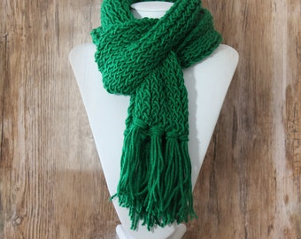 Knitted Con Amor - Kelly Green Hand Knitted Scarf - Knit Scarf, Wrap Scarf, Women's Scarf, Fringed Scarf, Handmade, Unisex Scarf (126)