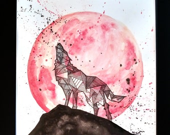 NC State Wolfpack Geometric Watercolor Painting