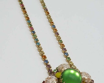 Think Spring with this Unique & Colorful Moonstone, Confetti Glass and Rhinestone Necklace!